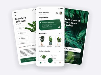 Plant app - Mobile concept app for home garden application planting eco mobile green clean app interface modern flowers gardens gardening design ux ui concept app plant care plant app