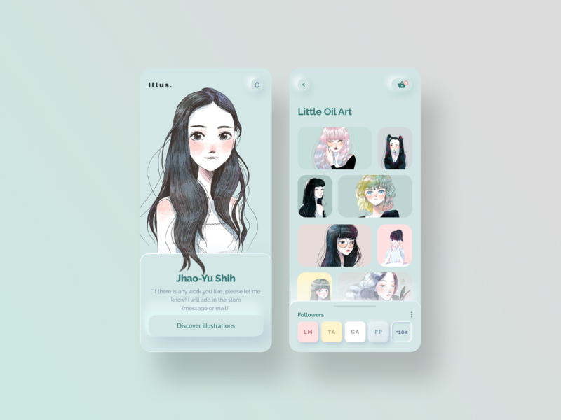 Illus - Illustrator social media profile neumorphic artist mobile illustrator uidesigner layout ui neomorphism design minimal concept illustration