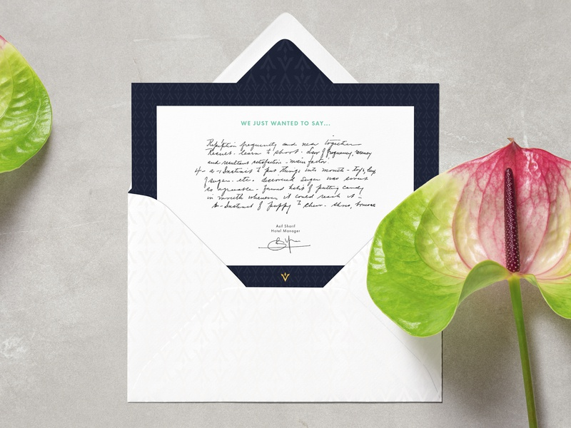 VINCUL - Greeting Card flowoh corporate identity corporate design residence wellness hotel graphic design luxurious modern classic greetingcard envelope brand identity branding and identity identity branding identity branding brand