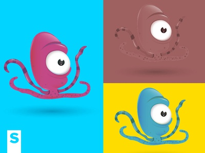 Octopus Colors octopus illustration character design subcutaneo pulp sea ocean cyan yellow animals pet fish