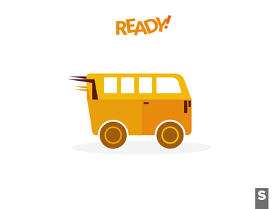 Ready! illustration icon car iconography infographic graphics orange transport transportation bus conceptual