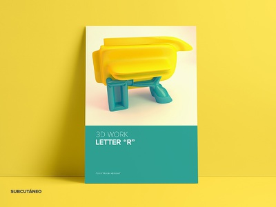 Letter R Poster  type mockup yellow work design poster multimedia typography 3d