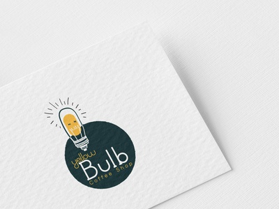 yellow Bulb Coffe shop English Logo logo design graphic design design colorful logo branding