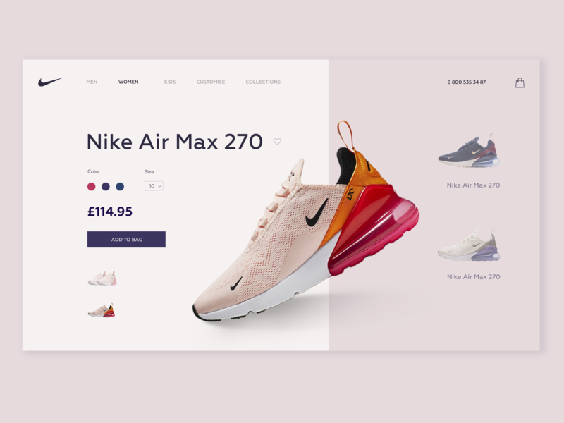 Concept Product Card Nike Store store nike air max nike air nike card product card web webdesign ux ui design concept