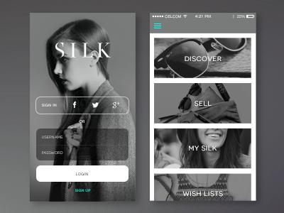 Silk App app design ui ux ios application interface user interface mobile app design login fashion