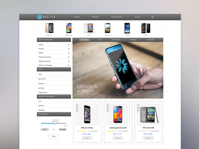 Mobiler web website e-commerce business shop marketplace smartphone mobile homepage icon interface phone