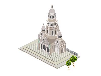 Montmartre landmark roman hill structure 3d model tree france paris church building