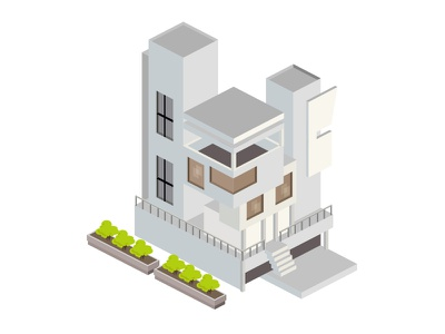 A house grey town city window stairs structure model 3d isometric home building house