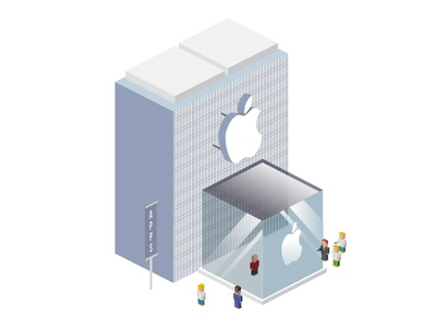 Apple Store illustration building people phone apple apps city town store shop