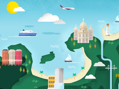 Map texture cloud tree boat ship plane sea city town vector icon map
