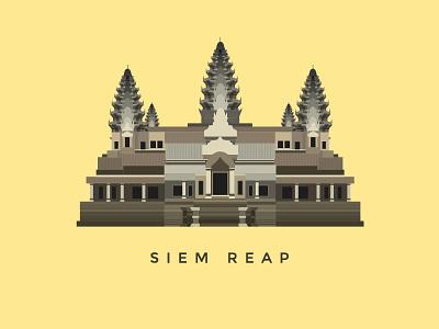 Angkor Wat architecture building ai flat vector illustration temple landmark cambodia angkor wat