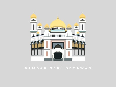 Bandar Seri Begawan asia dome mosque landmark place illustration vector building brunei bandar