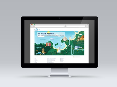 Asecro  japan malaysia town vector desktop illustration map site landing page homepage website web