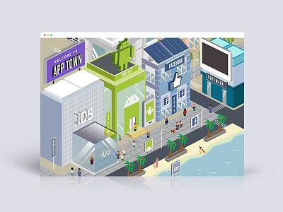 App Town malaysia kuala lumpur kl lego isometric building facebook town android ios illustration