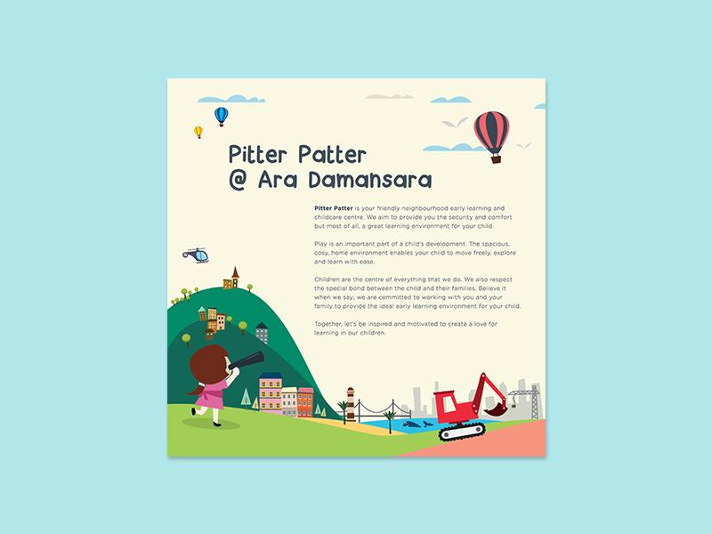 Childcare Brochure design kuala lumpur malaysia colorful play town fun childcare kids vector illustration