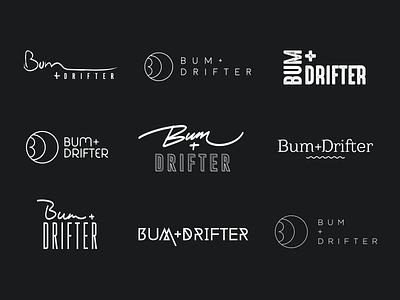 Bum + Drifter Logo Explorations typography digital website kuala lumpur design studio freelance designer logo design design branding identity brand logo