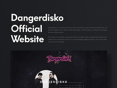 Dangerdisko Website interface disco electronic dance uiux design kuala lumpur music one page web web design website