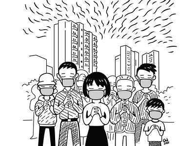 Pray for China grayscale prayfortheworld prayforchina digital illustration digital art the world virus coronavirus outbreak pray outbreak coronavirus disease china art drawing illustration