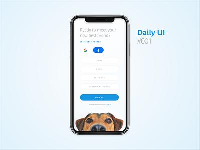 Daily UI #001 : Sign Up ui design mobile app app mobile ui signup dog dailyui 001 dailyui