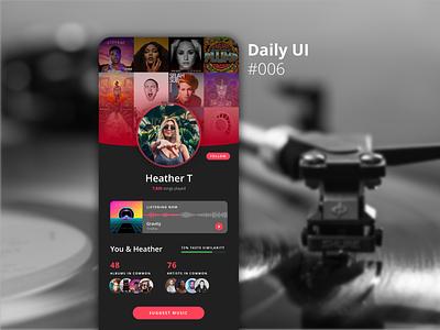 DailyUI 006 - User Profile user interface design design app design music app design uidesign music app ui ui music app app music mobile app mobile dailyui006 dailyui 006 dailyui