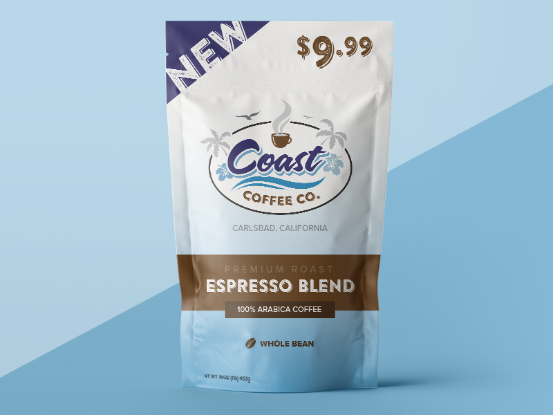 Coast Coffee Branded Retail Packaging coffee packaging