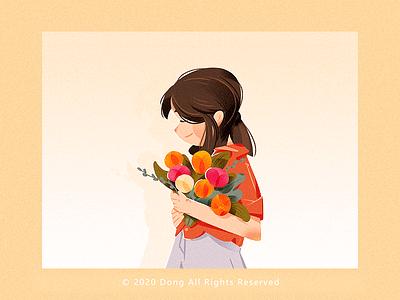 flower girl ui web design illustration