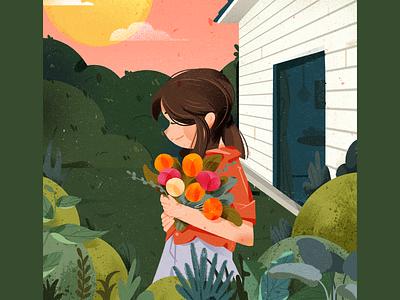 girl typography design ui illustration