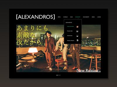 Daily UI  #053 Header design cool black japanese japan rock band artist top page web design ui design photoshop grobal navigation navi navigation header navigation header 053 daily ui 053 daily ui dailyui