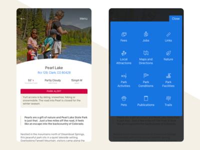 Colorado Parks & Wildlife App Redesign ux ui typopgrahy state parks mobile menus menu ios color app