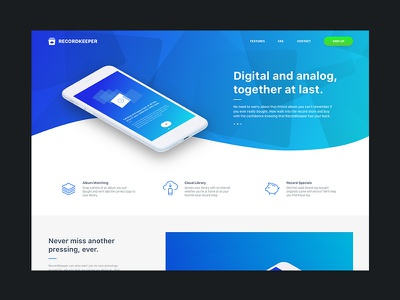 RecordKeeper V0.2 Landing Page landing page onboarding collection records vinyl mobile ux ui ios app