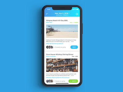 DayQuest listings app mobile events typography ux ui ios