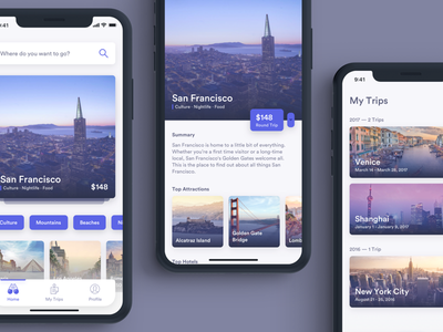 Trips Concept flights detail listing trip app mobile travel typography ux ui ios