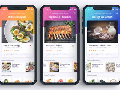 Meal Suggestion Concept - UI Round 2 ratings meals suggestion app mobile food typography ux ui ios