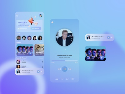 Glassmorphism Music App glassmorphism app design design mobile concept desain aplikasi application mobile app design mobile ui mobile app