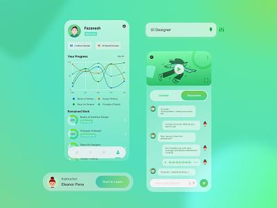 Online Course Mobile Concept app wireframe design glassmorphism desain aplikasi mobile concept mobile ui app design application mobile app design mobile app
