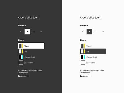 Accessibility tool sidebar ui dailyui high contrast night day theming a11y custom customization sidebar settings tools accessibility