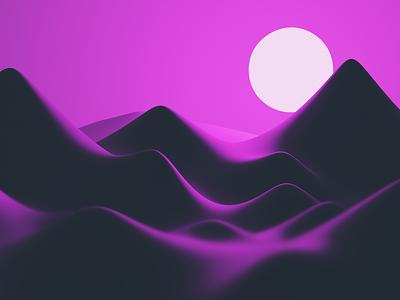 3D Scene → Minimal Landscape wallpaper soft mountain moon pink blender 3d