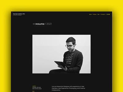 Portfolio → Resume resume design ui minimal