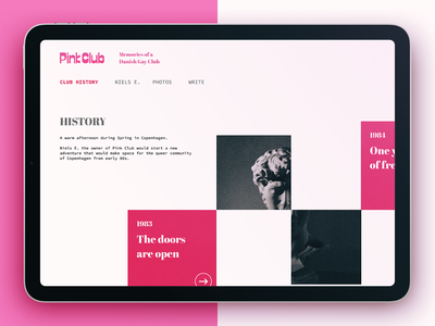 Pink Club → History queer minimalist web design