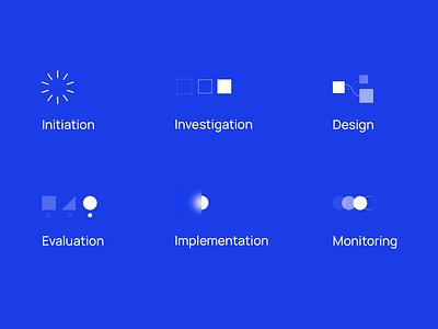 design process + labels ux illustration process icon