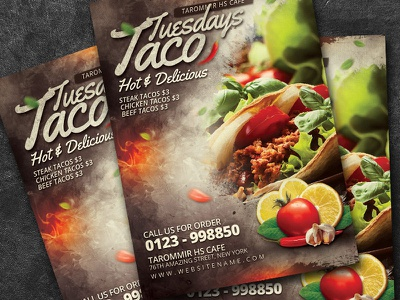 Taco Tuesdays Flyer poster party muertos mexico mexican lunch hot food menu food flyer food flyer dinner design cooking chili chef cafe psd download