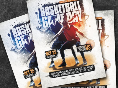 Basketball Game Day Flyer sport print poster template poster nba match league game flyer event court competition college basketball college championship basketball game basketball flyer basketball court basketball basket