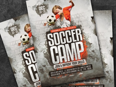 Soccer Camp Flyer tournament template students spring sport soccer school print pamphlet match league leaflet kids holiday game football flyer event cup competition