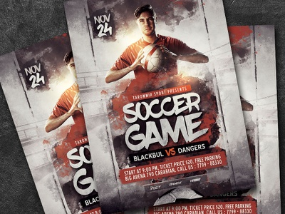 Soccer Game Flyer psd soccer game playoff match league leaflet graphic goal game football flyer event design cup competition college club championship champion