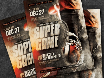 Football Super Game Flyer sport poster modern match goal game football poster football game flyer football flyer event competition college football canadian football ball art american football american abstract
