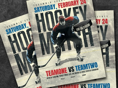 Hockey Match Flyer sport skating puck poster player match league ice hockey flyer ice hockey ice hockey tournament hockey poster hockey playoff hockey game hockey helmet game flyer event