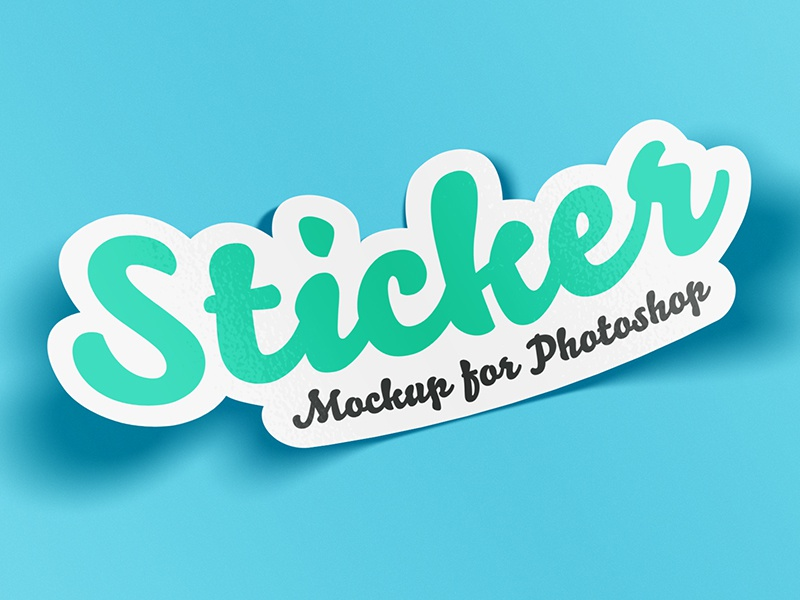 Sticker Mockup for Photoshop glossy badge mock-up sticker