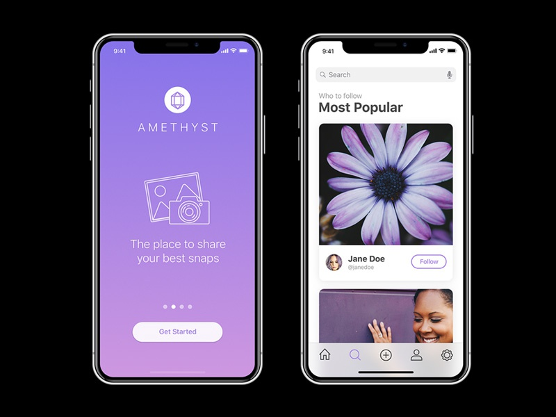 Download Amethyst: Free iPhone X App Ui For Sketch
