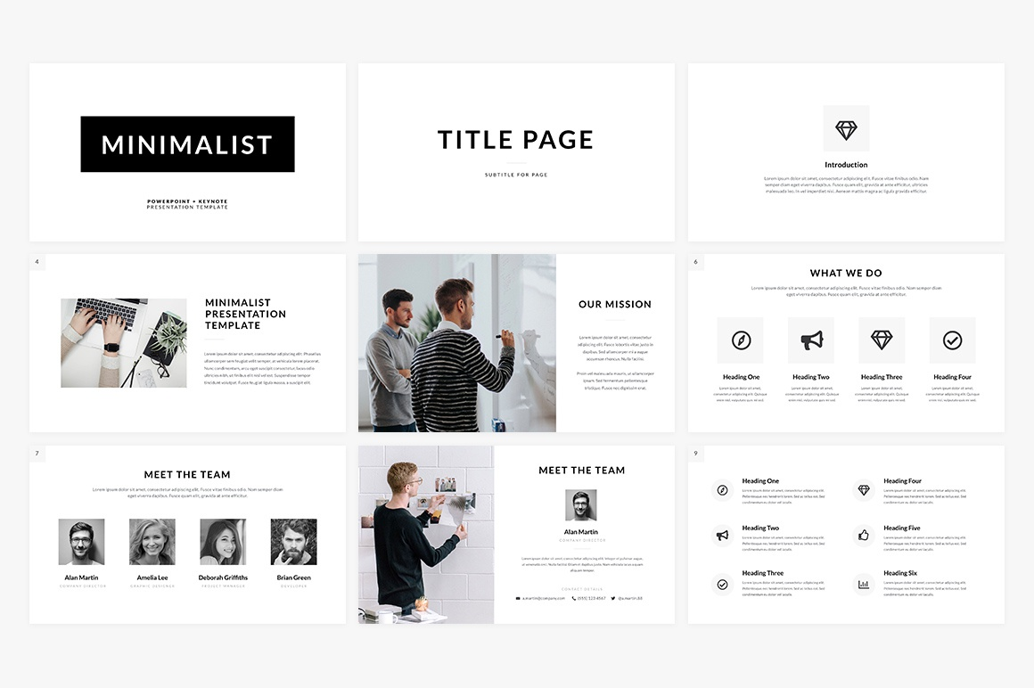 Dribbble minimalist presentation template preview cm 2 for Minimalist powerpoint template free 2