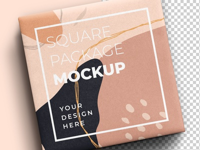 Square Gift Package Mockup square box gift box box packaging package mockup